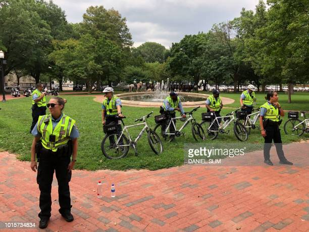 Police oversee the Unite the Right rally August 12 2018 in Washington DC on the oneyear anniversary of deadly violence at a similar protest in...