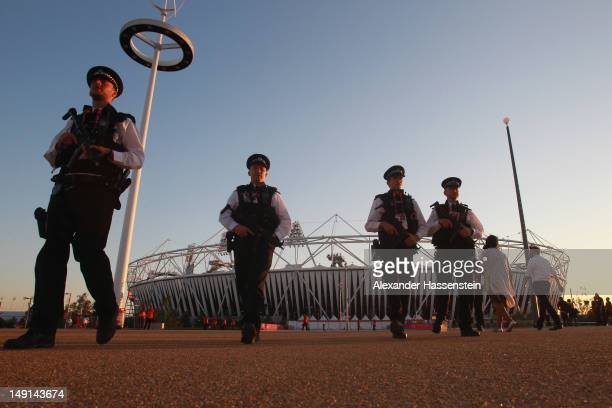 Police patrol at the Olympic Park on July 23 2012 in London England