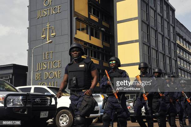Police patrol at the Supreme Court in Monrovia on November 3 2017 Liberia's Supreme Court on November 3 said it would decide on November 6 whether a...