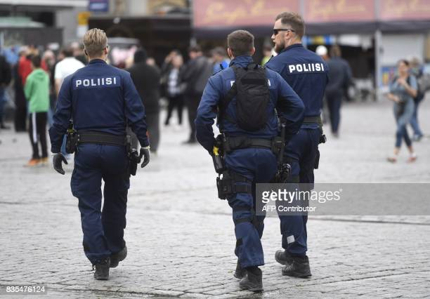 Police patrol at the Turku Market Square Finland on August 19 2017 Two people were killed and six were injured in a stabbing spree in the Finnish...