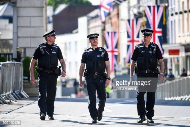 Police patrol before the rehearsal of the carriage procession for the wedding of Prince Harry and Meghan Markle on May 17 2018 in WindsorEngland More...