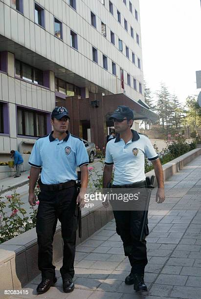 Police patrol in front of the Constitutional Court in Ankara on July 28 as the Court began deliberating on Monday on whether or not to close the...