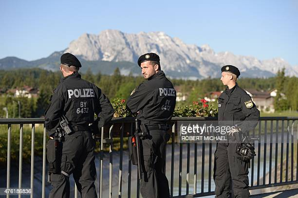 Police patrol in Kruen near Garmisch-Partenkirchen, southern Germany on June 7 ahead of the G7 summit. Germany hosts a G7 summit at the Elmau Castle...