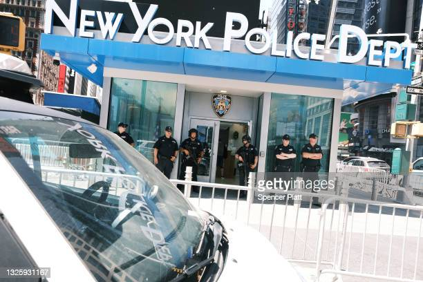 Police patrol in Times Square following another daytime shooting yesterday in the popular tourist destination on June 28, 2021 in New York City....