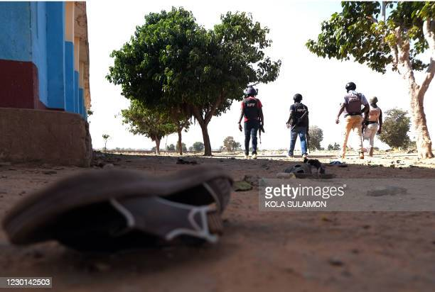 Police patrol inside the Government Science school in Kankara, in northwestern Katsina state, Nigeria after gunmen abducted students on December 15,...