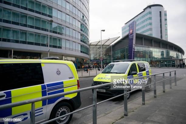 Police patrol Manchester's Piccadilly Station during heightened security after the stabbing on Monday at nearby at Victoria Station on January 02...