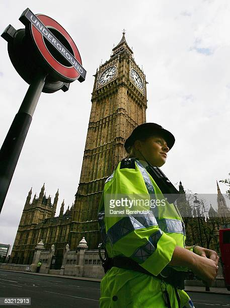 Police patrol near Westminster tube station on July 8 2005 London England Security has increased after at least 50 people were killed and 700 injured...