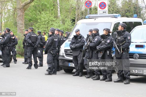 Police patrol outside the Signal Iduna Park prior to the UEFA Champions League Quarter Final first leg match between Borussia Dortmund and AS Monaco...