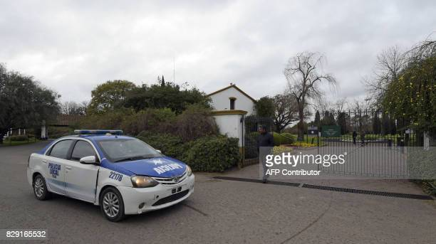 Police patrol the entrance of the Memorial park on August 10 2017 in Pilar Buenos Aires outskirts where Jorge Zorreguieta father of Netherlands'...