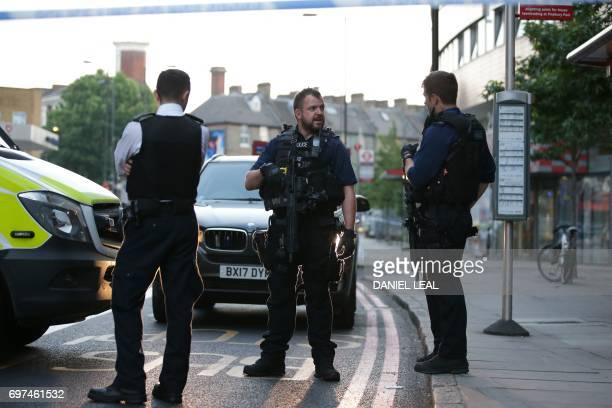 Police patrol the Finsbury Park area of north London after a vehichle hit pedestrians on June 19 2017 One person has been arrested after a vehicle...