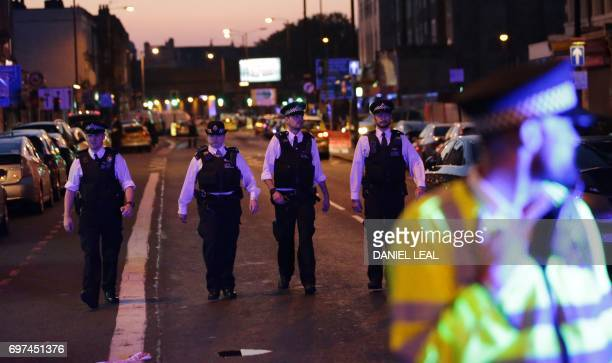 Police patrol the Finsbury Park area of north London where a vehichle hit pedestrians on June 19 2017 Several people are injured police said Monday...