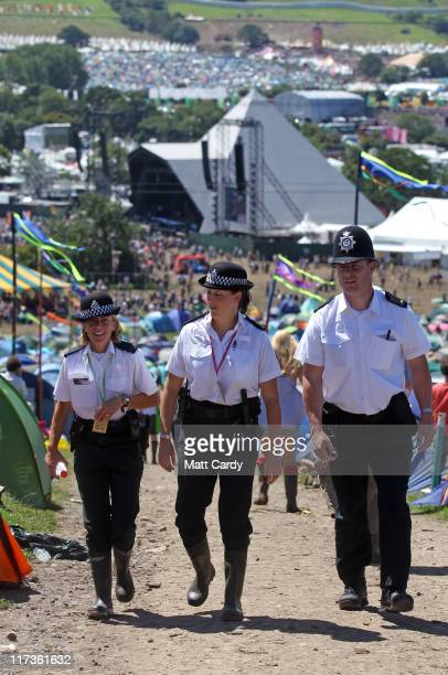 Police patrol the Glastonbury Festival site at Worthy Farm Pilton on June 26 2011 Christopher Shale the chairman of West Oxfordshire Conservative...