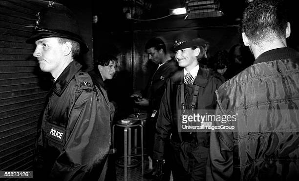 Police patrol the Hacienda club in Manchester due to the rise in the drug and gang related incidents early 1990's