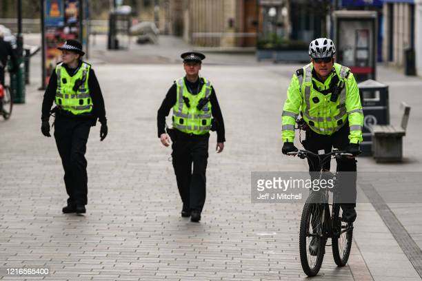 Police patrol the High Street during the Coronavirus on April 3 2020 in PerthScotland The Coronavirus pandemic has spread to many countries across...