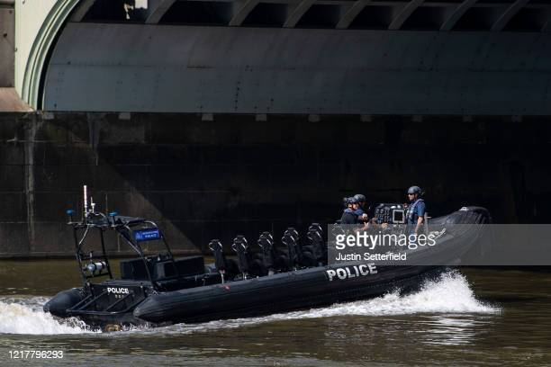 Police patrol the river thames on April 09, 2020 in London, England. Prime Minister Boris Johnson was transferred to the intensive care unit at St...