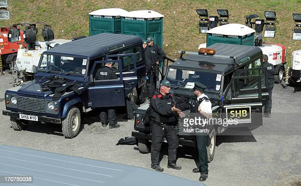 Police patrol the security ring placed around the G8 venue of Lough Erne on June 17 2013 in Enniskillen Northern Ireland The two day G8 summit hosted...
