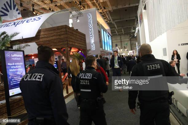 Police patrol to provide added security at the ITB international tourism trade fair on March 7 2018 in Berlin Germany This year's ITB includes 190...