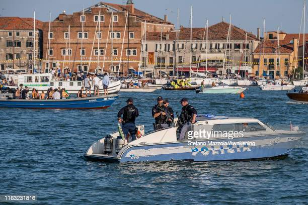 Police patrols St Mark's Basin during the Redentore Celebrations on July 20 2019 in Venice Italy Redentore which is in remembrance of the end of the...