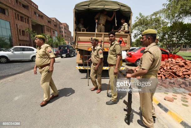 Police personnel deployed at Sharda University for safety of African nationals on March 28 2017 in Greater Noida India Five Nigerian students were...