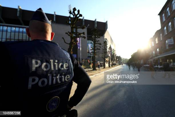 Police pictured outside the stadium prior to the UEFA Europa League Group D match between RSC Anderlecht and Dinamo Zagreb at Constant Vanden Stock...