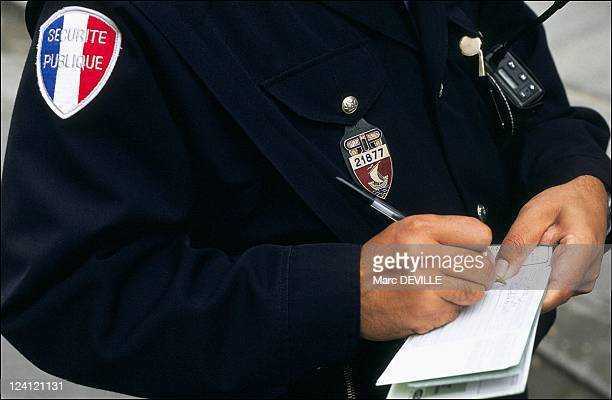 Police policeman of 11st district in Paris France on October 17 1990