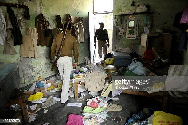 Police post after it was ransacked by angry mob after their houses were demolished in anti-encroachment drive by Greater Noida Authority at Kulsera...