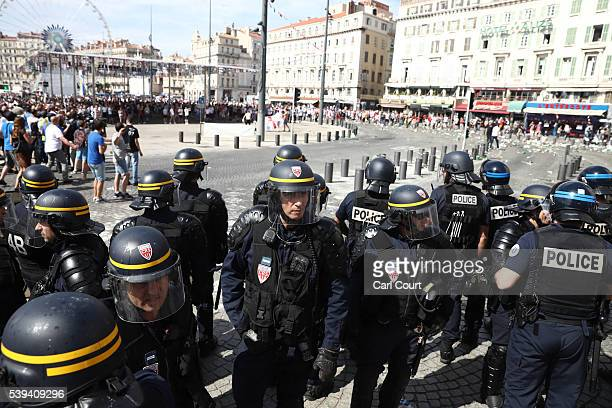 Police prepare as they clash with England fans ahead of the game against Russia later today on June 11 2016 in Marseille France Football fans from...