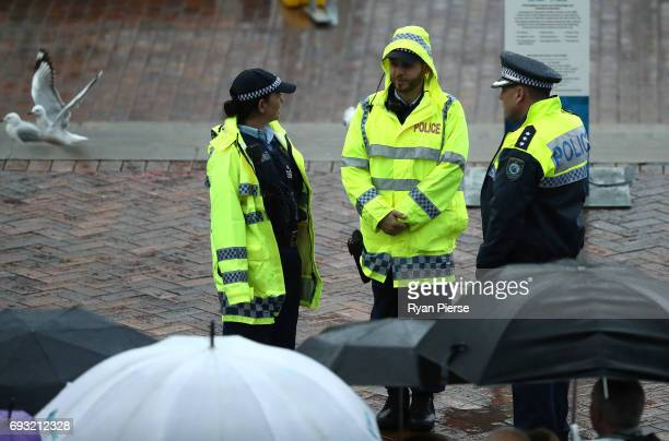 Police prepare for the arrival of Prince Harry atCampbells Cove on June 7 2017 in Sydney Australia Prince Harry is on a twoday visit to Sydney for...