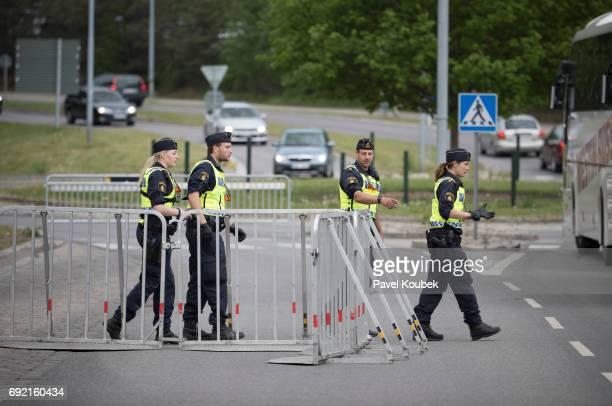 Police prepare roadblocks prior to the Allsvenskan match between Athletic FC Eskilstuna and AIK at Tunavallen on June 4 2017 in Eskilstuna Sweden