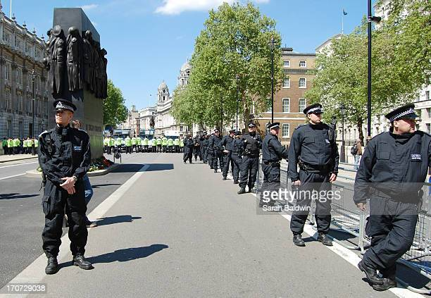 Police prepared for the EDL demonstation.
