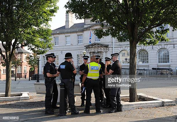 Police presence are seen outside as Shaun Wright Police and Crime Commissioner of South Yorkshire attends a South Yorkshire Police and Crime Panel...