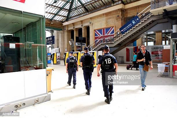 police presence in Gare du Nord, Paris