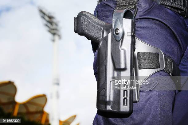 Police presence is seen at the Carrara Stadium ahead of the 2018 Commonwealth Games Opening Ceremony on April 4 2018 in Gold Coast Australia