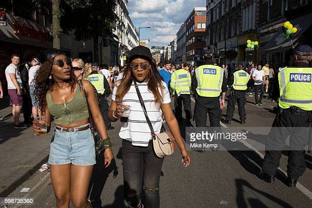 Police presence on Westbourne Grove on Monday 28th August 2016 at the 50th Notting Hill Carnival in West London A celebration of West Indian /...