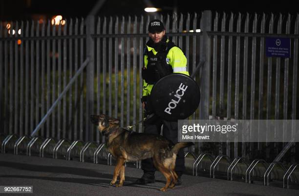 Police presence outside the stadium prior to The Emirates FA Cup Third Round match between Brighton Hove Albion and Crystal Palace at Amex Stadium on...