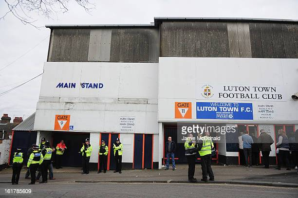 Police presence prior to the FA Cup with Budweiser fifth round match between Luton Town and Millwall at Kenilworth Road on February 16 2013 in Luton...