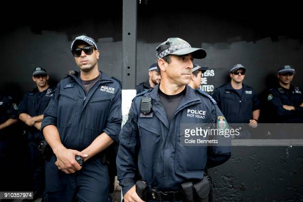 Police presence was strong at the peaceful Invasion Day rarch and rally on January 26 2018 in Sydney Australia Australia Day formerly known as...