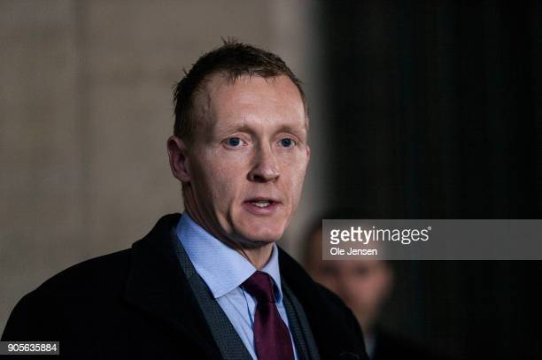 Police procecutor Jakob BuchJepsen holds a press briefing at Copenhagen Police Yard informing about the indictment against Peter Madsen charging him...