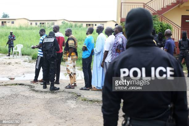 Police question detained Muslim retail traders on December 17 2017 in Libreville following a knife attack on two Danish nationals Two Danish...