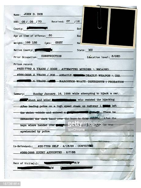Police Record with Blank Mugshots