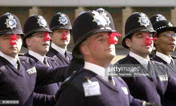 Police recruits wearing red noses in a rehearsal for their passing out parade on Friday March 14th at Hendon Training School North London The new...