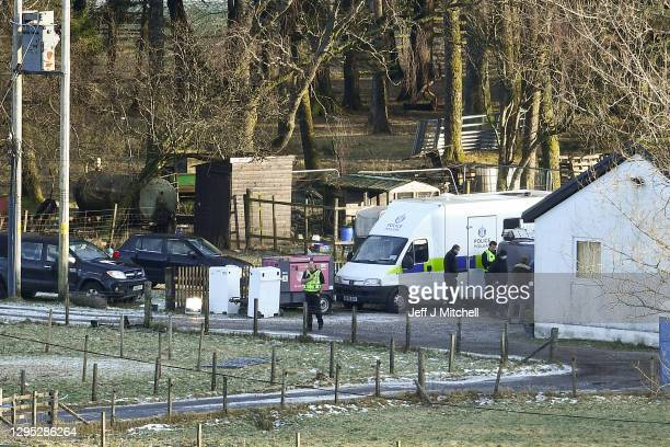 Police remain at a Highland farm at Auch Estate as they search the grounds in connection with the disappearance of Tony Parsons on January 8, 2021 in...