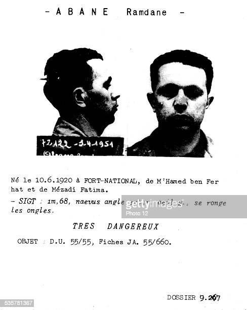 Police research card about Abane Ramdane political leader of the revolution 19541962 France Algerian War of Independence