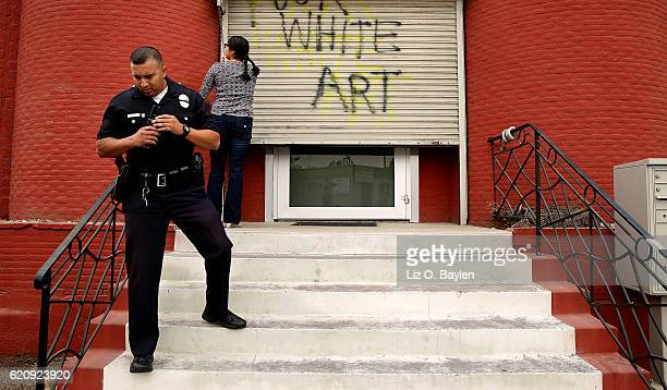 Police respond to a call on a vandalism investigation at Nicodim gallery in Boyle Heights on October 11 in Los Angeles Venus LA gallery which is...