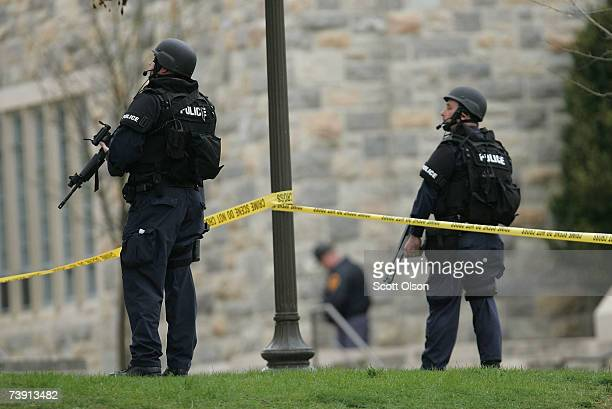 Police respond to a perceived threat on the campus of Virginia Tech's Burruss Hall which sits next to Norris Hall where on Monday a gunman shot more...