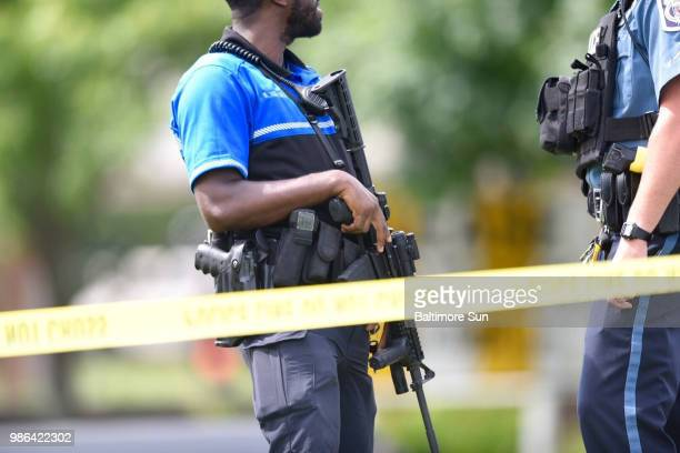 Police respond to a shooting at the Capital Gazette newspaper building on Thursday June 28 2018 in Annapolis Md