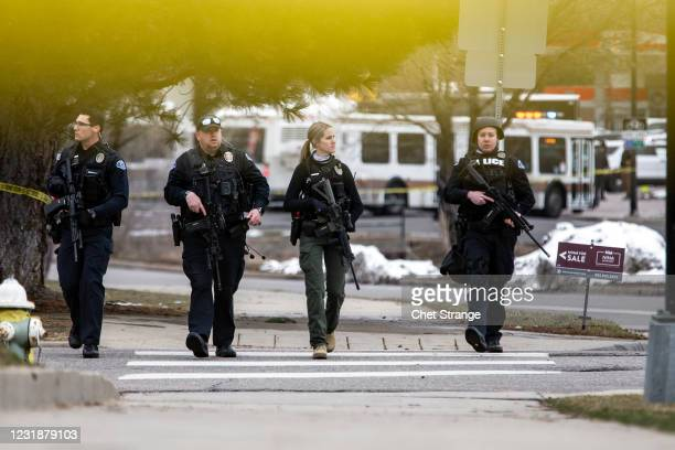 Police respond to the scene of a King Soopers grocery store after a shooting on March 22, 2021 in Boulder, Colorado. Dozens of police responded to...