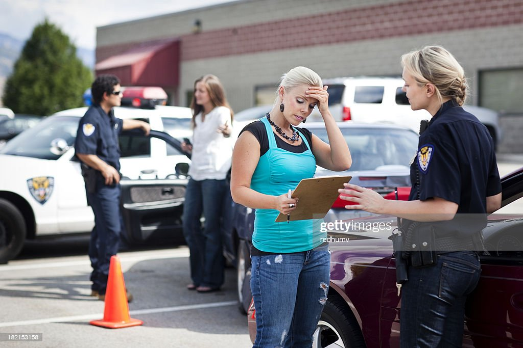 Police Respond to Traffic Accident : Stock Photo