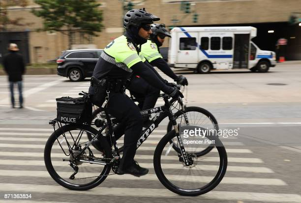 Police ride near the location where terrorist Sayfullo Saipov entered a Manhattan bike path and went on a rampage with a truck last Tuesday afternoon...