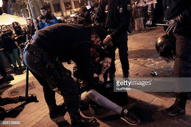 Police riots arrest demonstrators during a protest against the government approved tight restrictions on abortion during a protest against government...